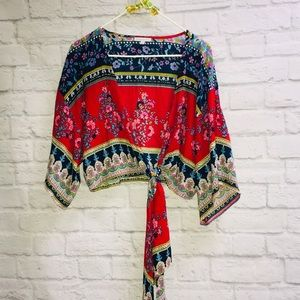 Patrons of Peace Cropped Tie Front Boho Top